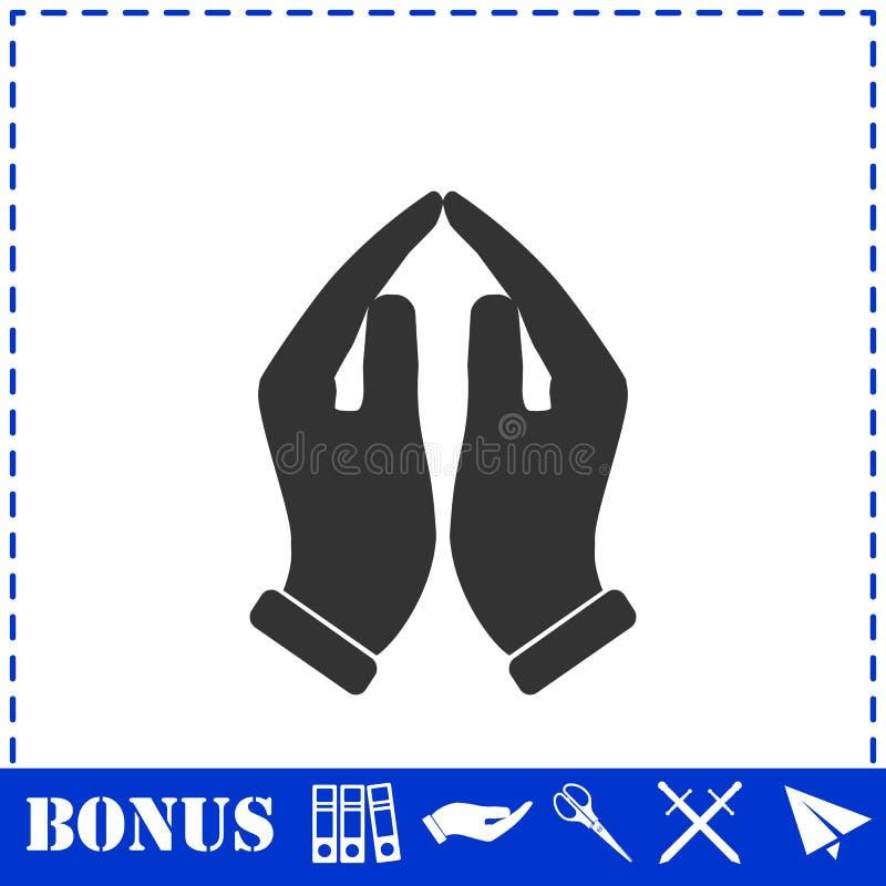Ícone de mãos de suporte plano ilustração stock