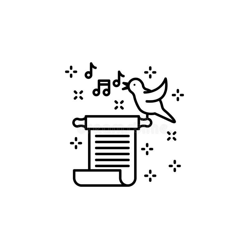 Ícone de música de aves de rolagem Ballad Ícone Elemento da literatura ilustração do vetor