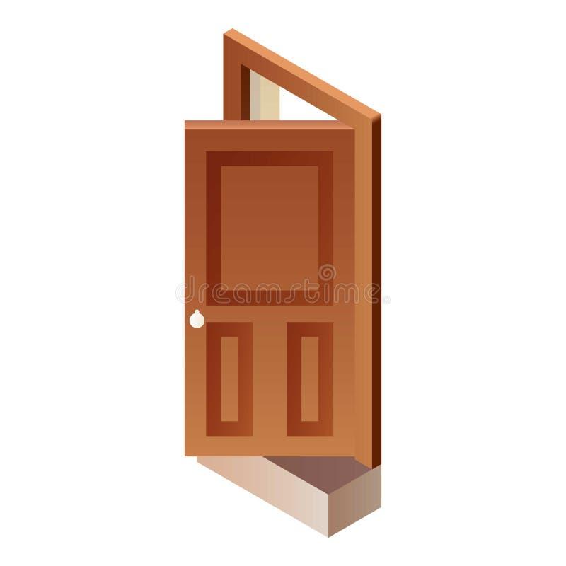 Ícone de madeira aberto da porta, estilo isométrico ilustração stock