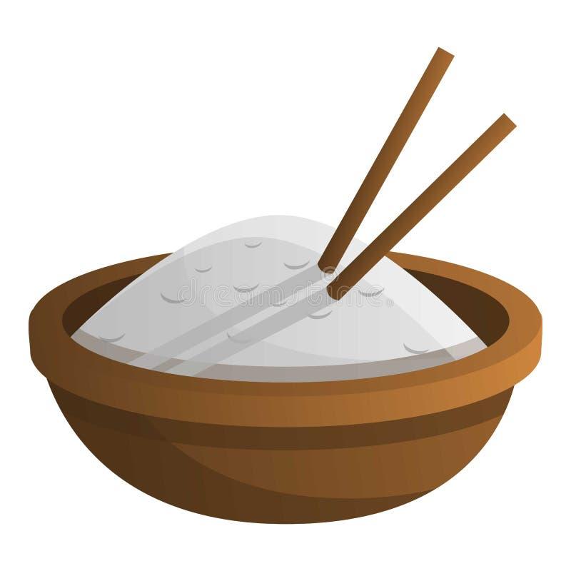 Ícone de madeira da bacia de arroz, estilo dos desenhos animados ilustração stock