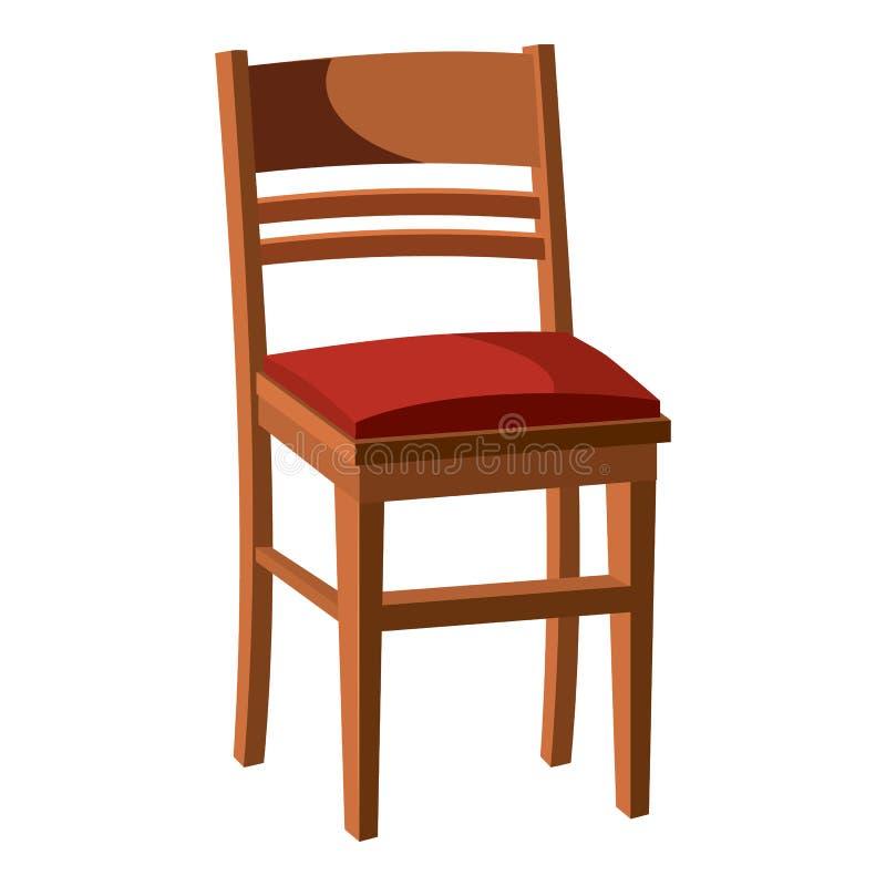 Ícone de madeira da cadeira, estilo dos desenhos animados ilustração do vetor