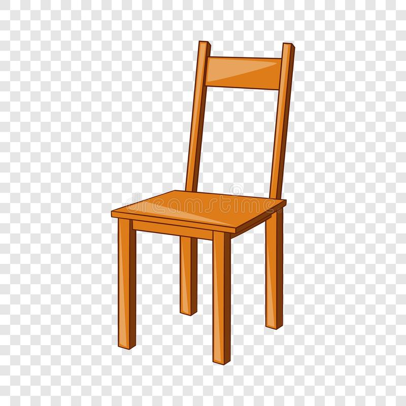 Ícone de madeira da cadeira, estilo dos desenhos animados ilustração stock