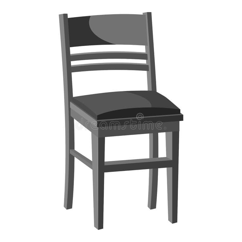 Ícone de madeira da cadeira, estilo monocromático cinzento ilustração royalty free