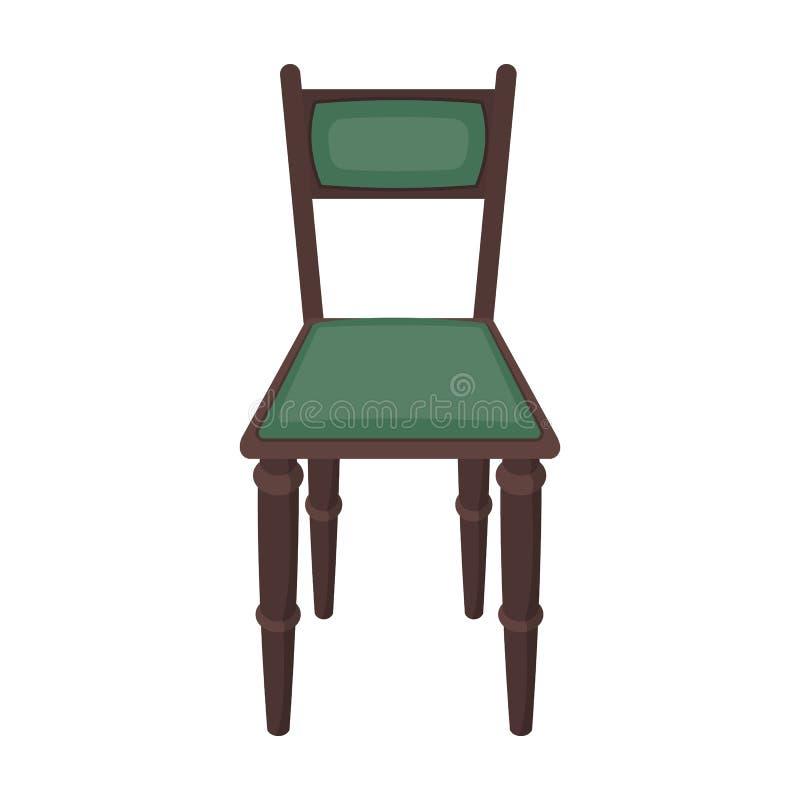 Ícone de madeira da cadeira no estilo dos desenhos animados isolado no fundo branco Símbolo da biblioteca e da livraria ilustração royalty free