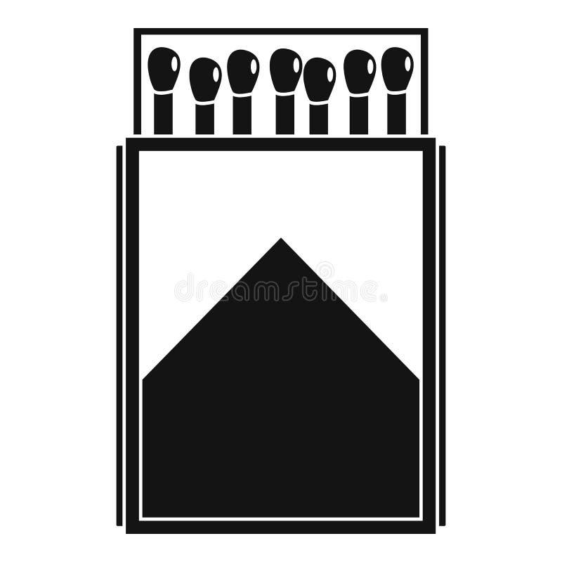 Ícone de madeira da caixa de fósforos, estilo simples ilustração royalty free