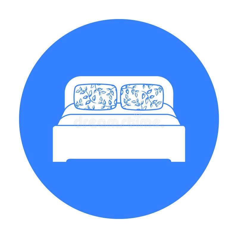 Ícone de madeira da cama de casal no estilo preto isolado no fundo branco Vetor interior do estoque do símbolo da mobília e da ca ilustração royalty free