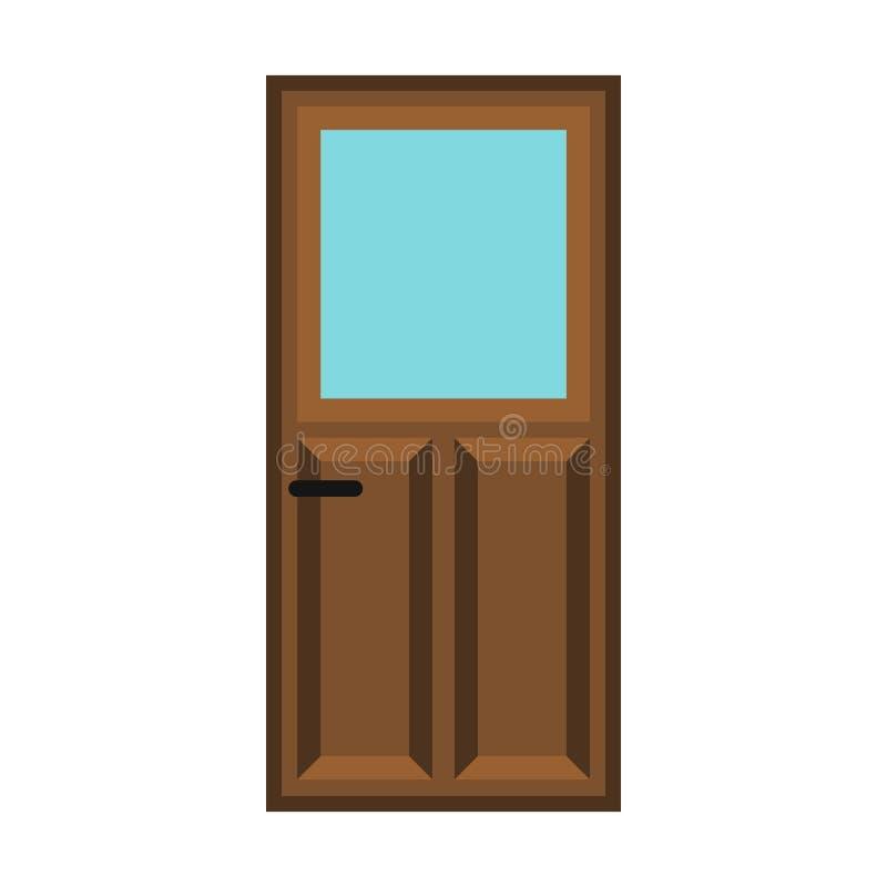 Ícone de madeira da porta do apartamento interior, estilo liso ilustração stock