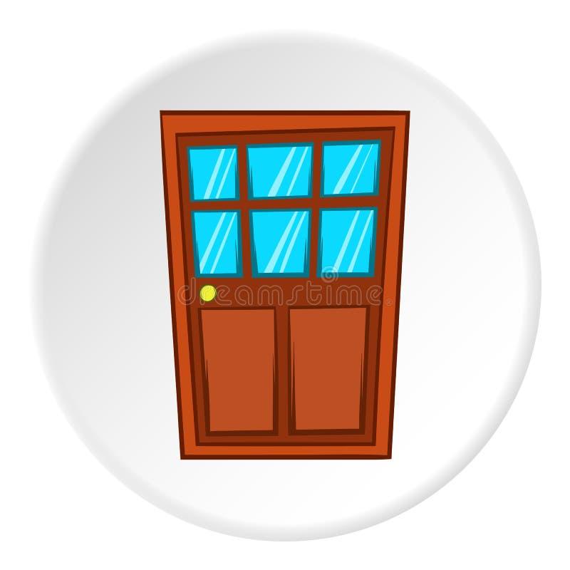 Ícone de madeira da porta interior, estilo dos desenhos animados ilustração do vetor