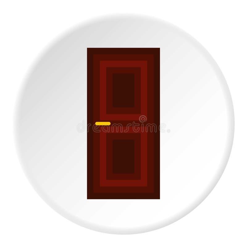 Ícone de madeira da porta interior, estilo liso ilustração stock