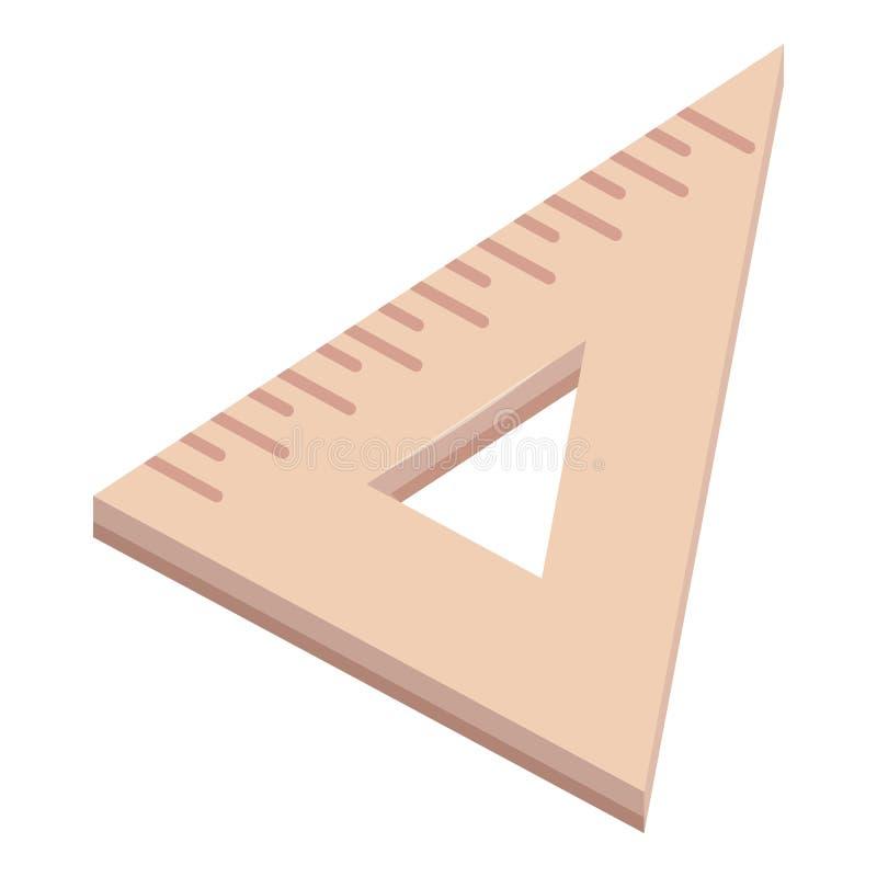 Ícone de madeira da régua do triângulo, estilo dos desenhos animados ilustração stock