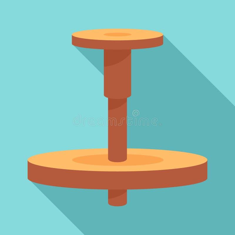 Ícone de madeira da roda de oleiro, estilo liso ilustração royalty free