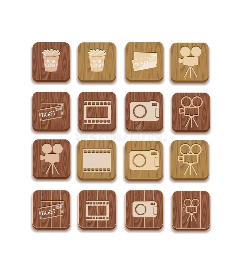 Ícone de madeira da silhueta da câmera de filme ilustração stock