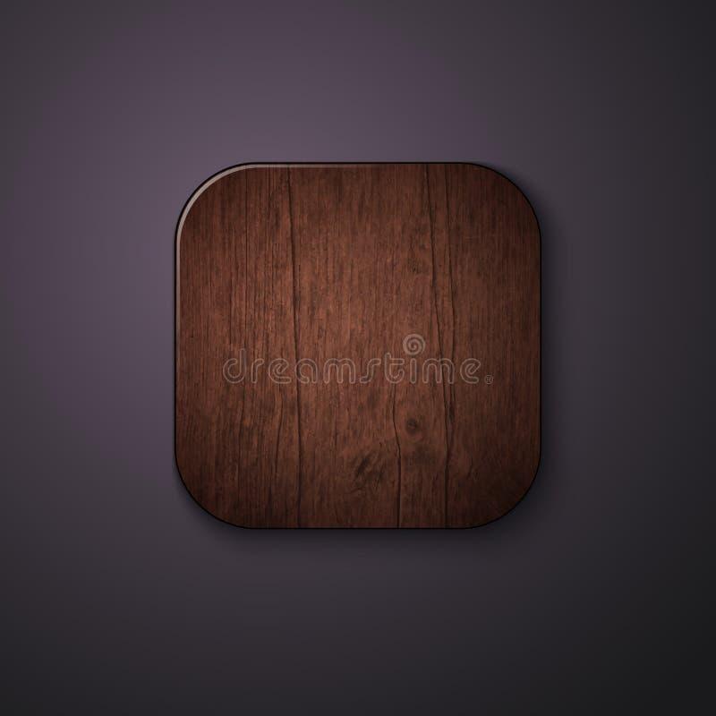 Ícone de madeira da textura estilizado como o app móvel Vetor Illustratio ilustração stock
