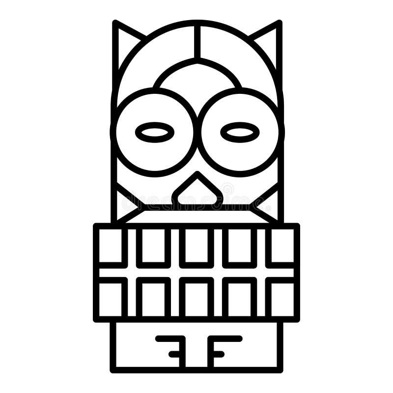 Ícone de madeira do ídolo do Maya, estilo do esboço ilustração do vetor