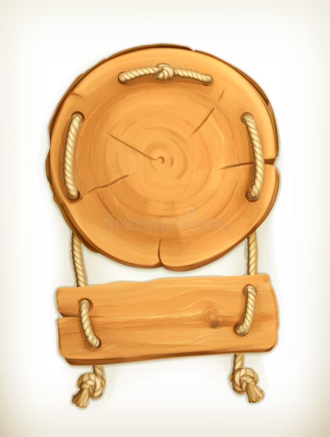 Ícone de madeira do sinal ilustração stock