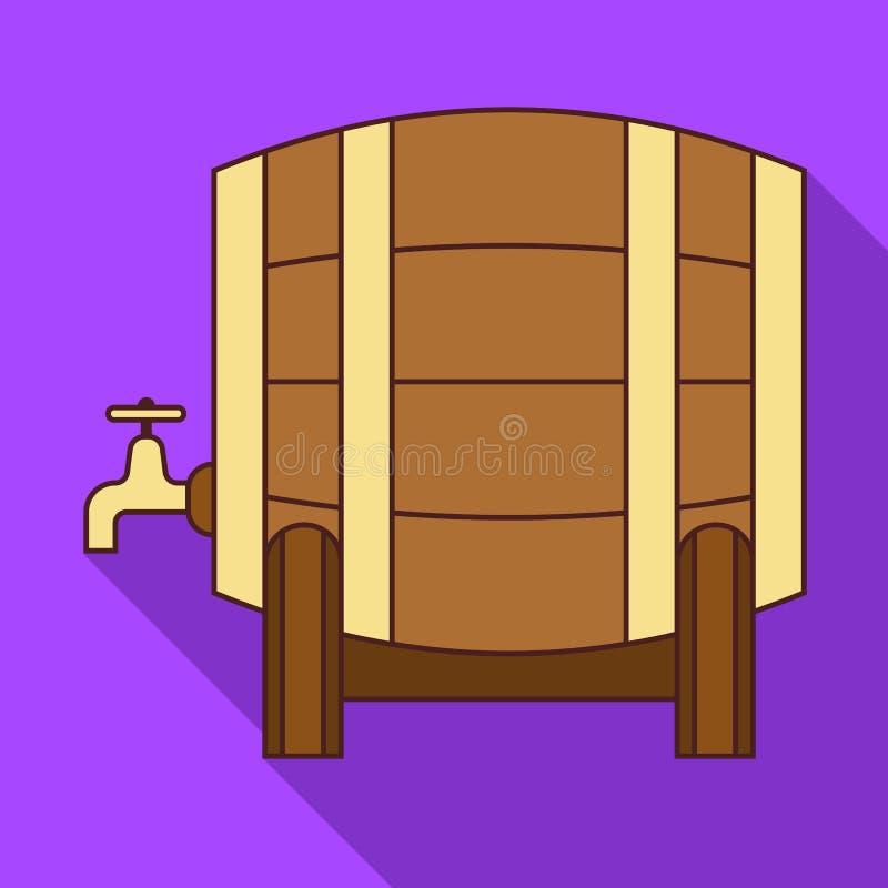 Ícone de madeira do tambor, estilo liso ilustração stock