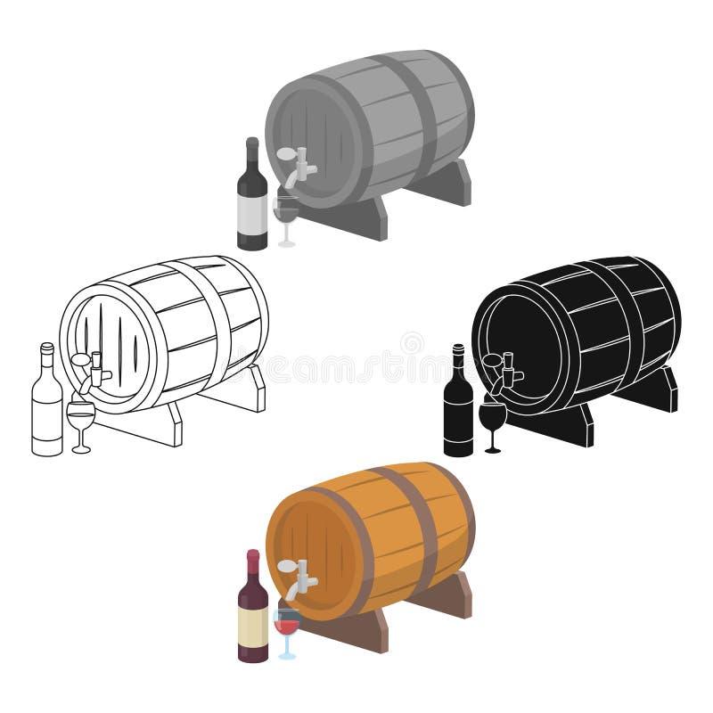 Ícone de madeira do tambor de vinho nos desenhos animados, estilo preto isolados no fundo branco Vetor do estoque do s?mbolo do p ilustração do vetor