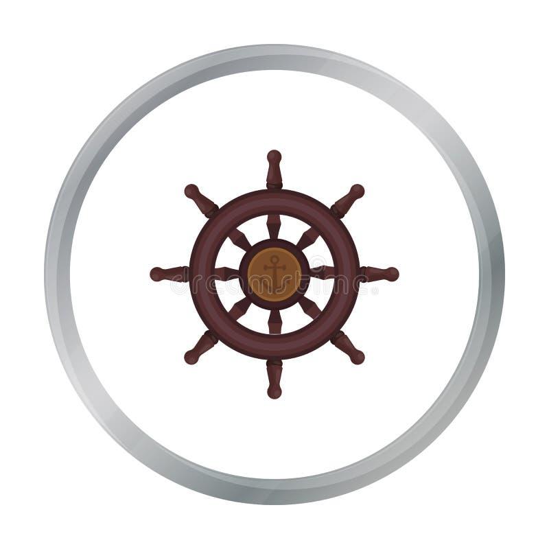 Ícone de madeira do volante do navio no estilo dos desenhos animados isolado no fundo branco ilustração stock