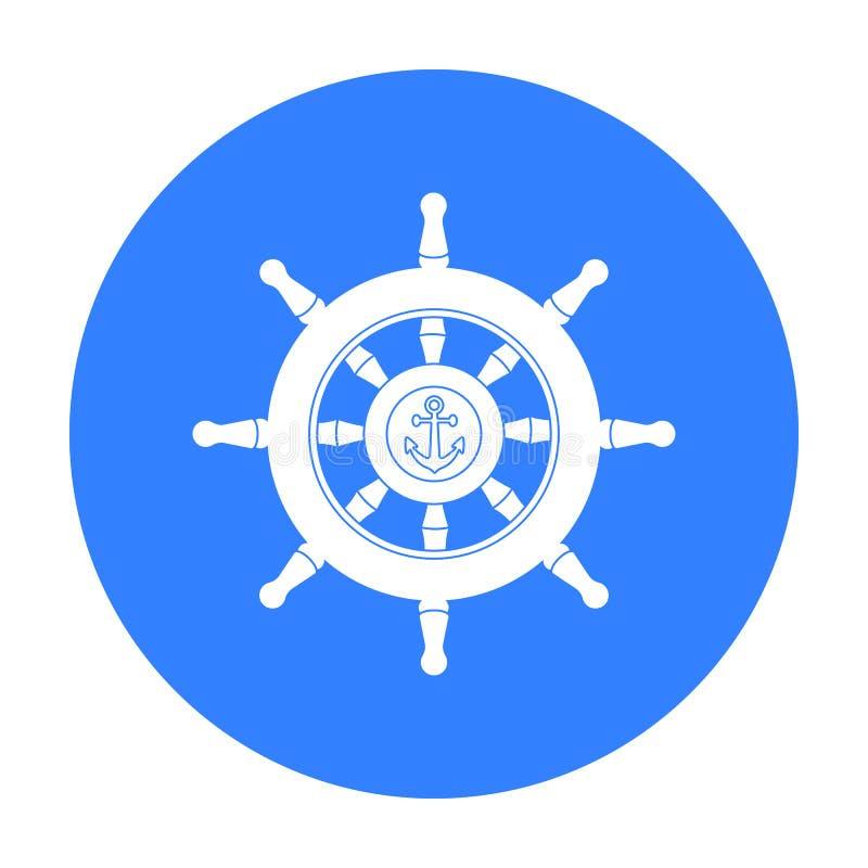 Ícone de madeira do volante do navio no estilo preto isolado no fundo branco Pirateia a ilustração conservada em estoque do vetor ilustração royalty free
