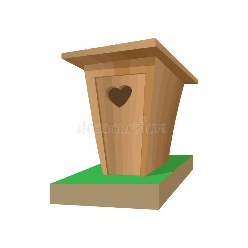 Ícone de madeira dos desenhos animados do toalete ilustração royalty free