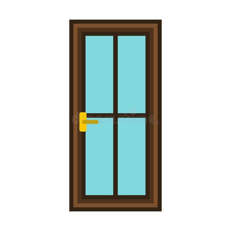 Ícone de madeira interior clássico da porta, estilo liso ilustração stock