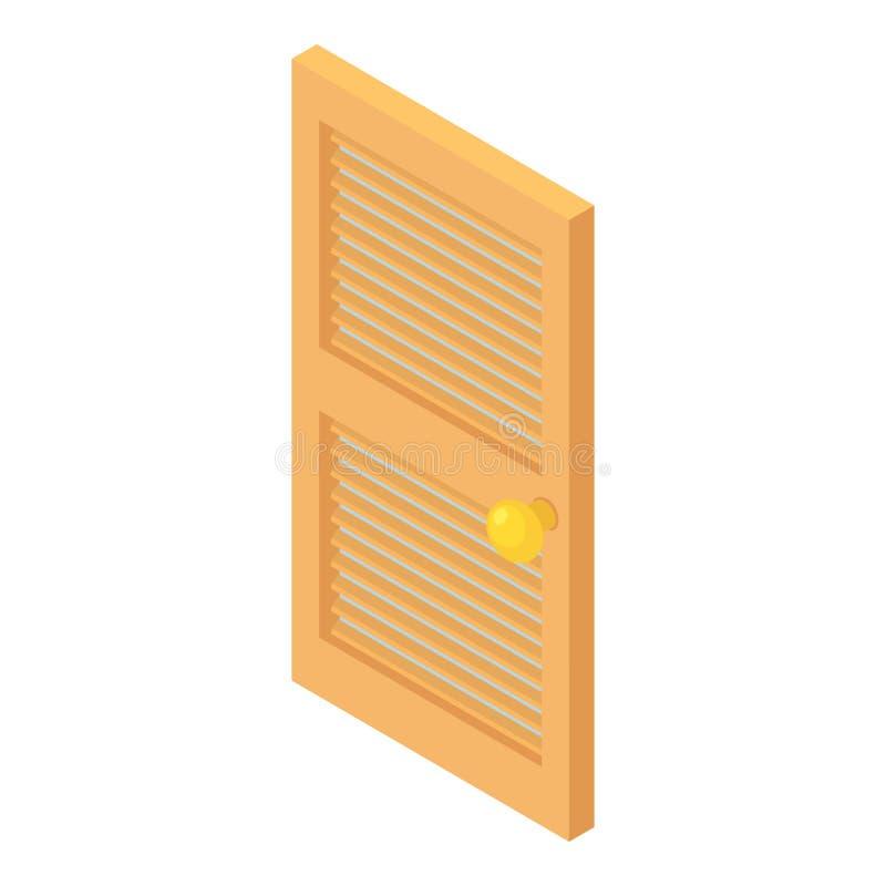 Ícone de madeira interior da porta, estilo dos desenhos animados ilustração stock