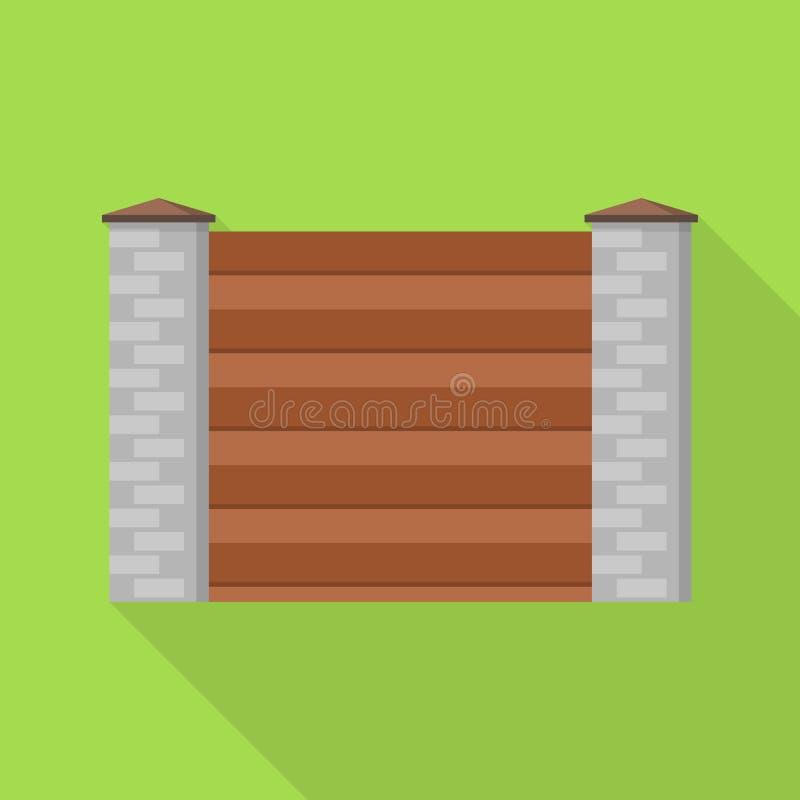 Ícone de madeira de pedra da cerca da parede, estilo liso ilustração stock