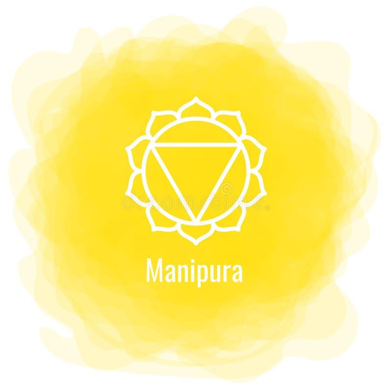 Ícone de Manipura O terceiro chakra do sol Círculo fumarento amarelo do vetor Linha símbolo Sinal sacral meditation ilustração do vetor