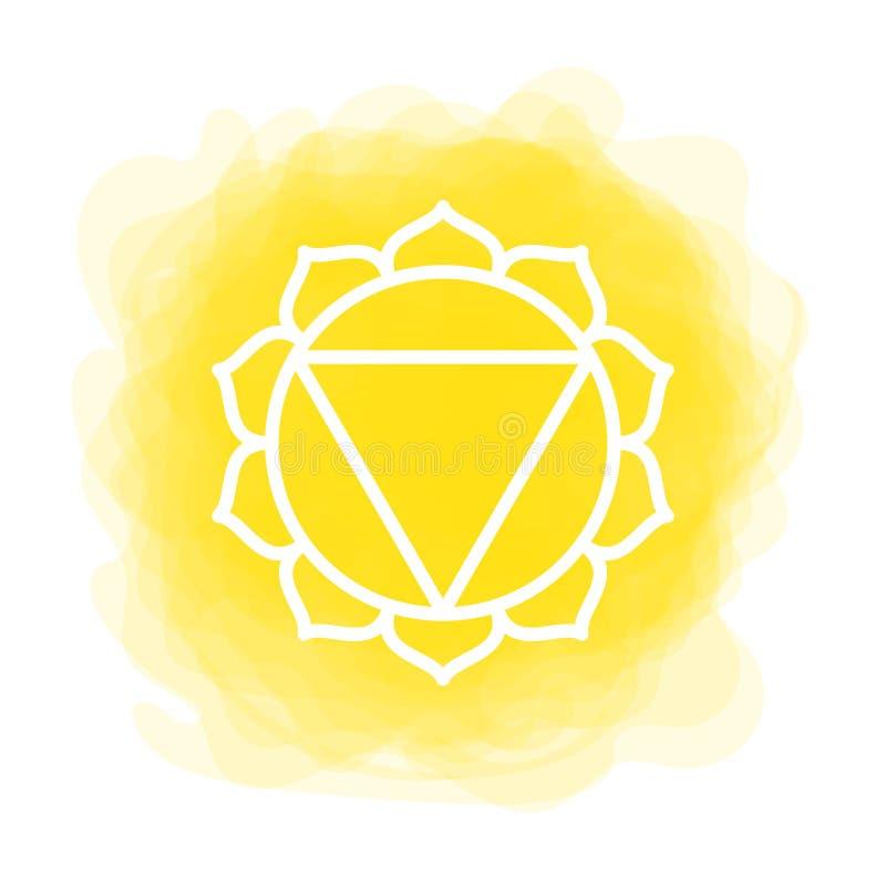 Ícone de Manipura O terceiro chakra do sol Círculo fumarento amarelo do vetor Linha símbolo Sinal sacral meditation ilustração royalty free