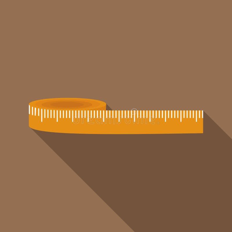 Ícone de medição amarelo da fita, estilo liso ilustração stock