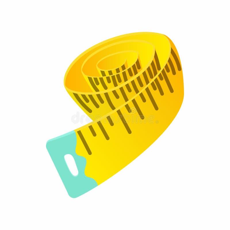 Ícone de medição da fita, estilo dos desenhos animados ilustração do vetor