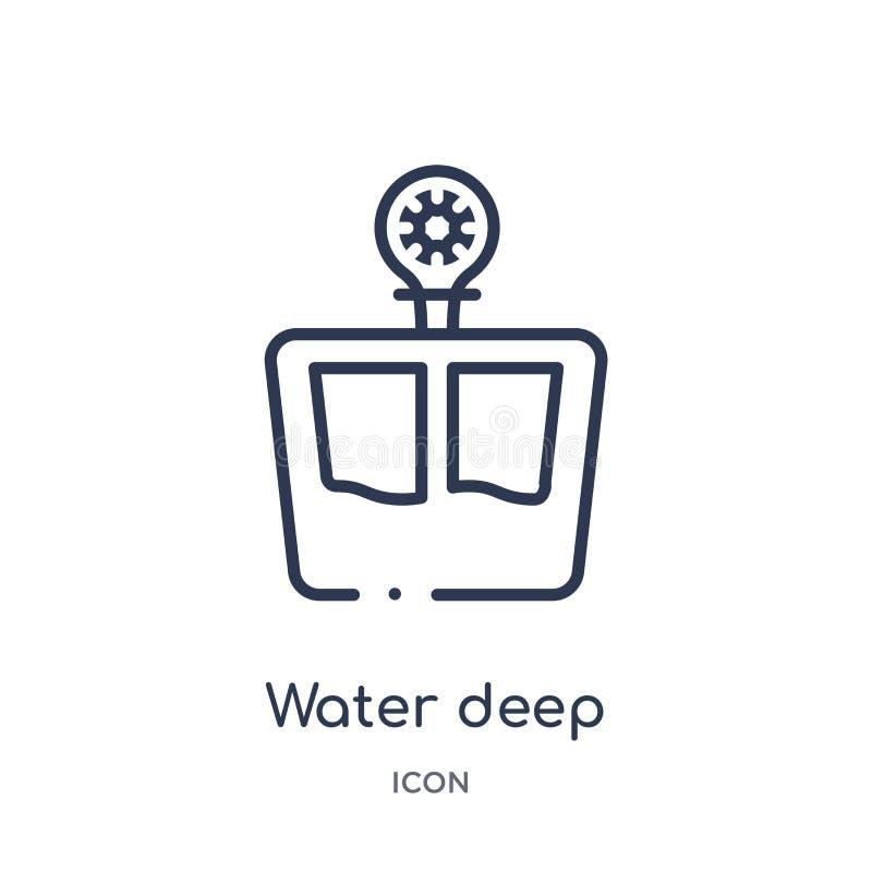 Ícone de medição profundo da água linear da coleção do esboço da medida Linha fina ícone de medição profundo da água isolado no b ilustração royalty free