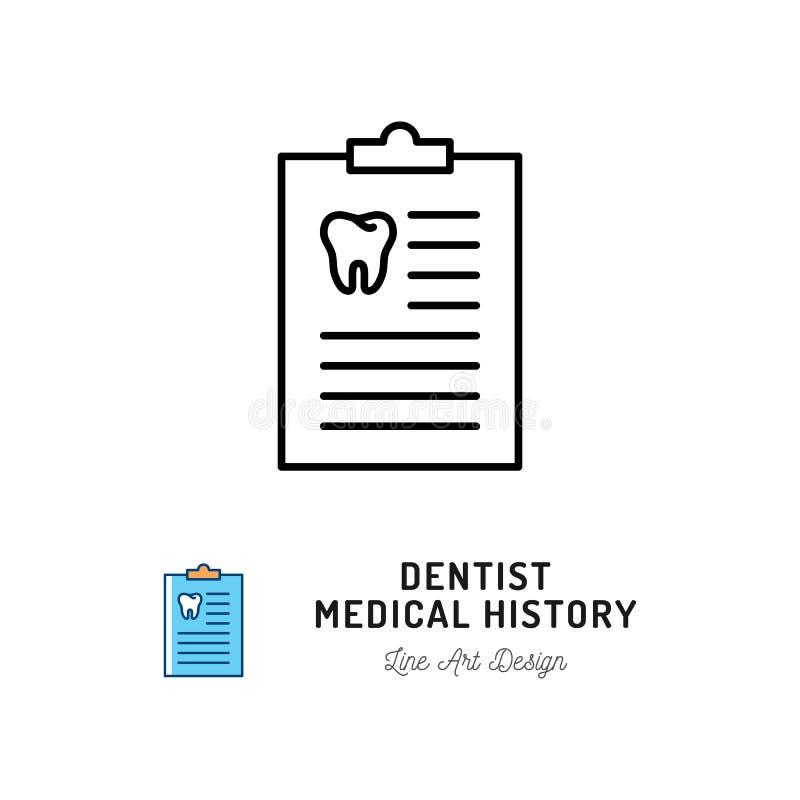 Ícone de Medical History do dentista Ícone do caderno e do dente do ` s do dentista Linha fina ícones dos cuidados dentários e do ilustração do vetor