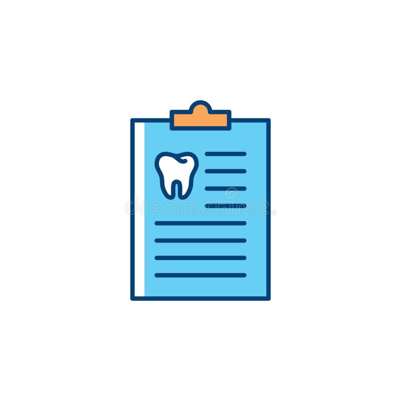 Ícone de Medical History do dentista Linha fina ícones do caderno e do dente do ` s do dentista da arte, cuidados dentários Ilust ilustração stock
