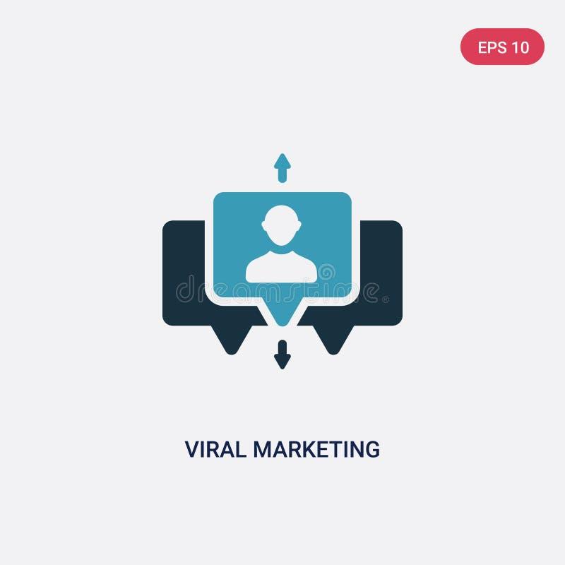 Ícone de mercado viral de duas cores do vetor do conceito da otimização do Search Engine símbolo de mercado viral azul isolado do ilustração do vetor