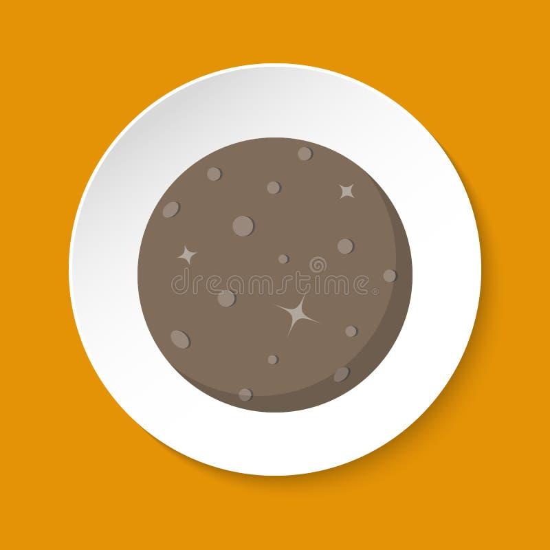 Ícone de Mercury do planeta no estilo liso no botão redondo ilustração stock