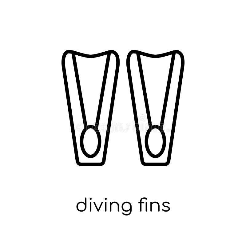 Ícone de mergulho das aletas da coleção do verão ilustração stock