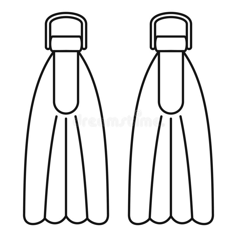 Ícone de mergulho das aletas, estilo do esboço ilustração do vetor