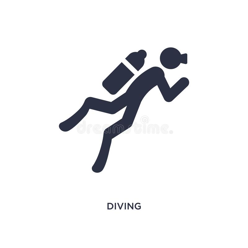 ícone de mergulho no fundo branco Ilustração simples do elemento do conceito das atividades ilustração stock
