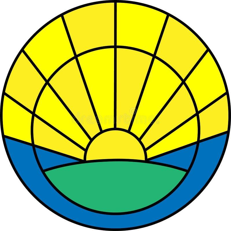 Ícone de Minimalistic com nascer do sol ilustração stock
