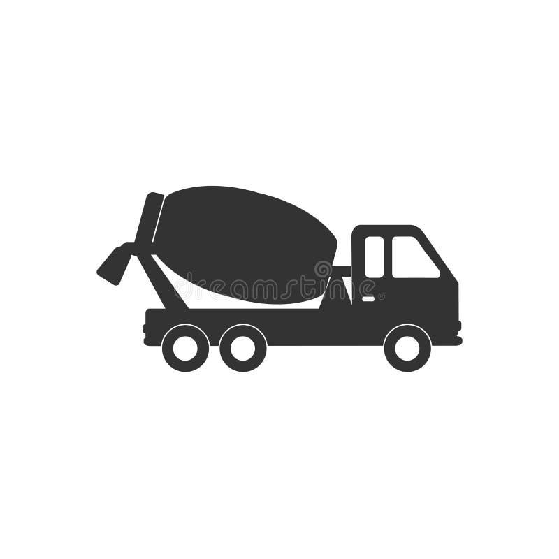 Ícone de mistura concreto do caminhão Ilustração do vetor, projeto liso ilustração stock