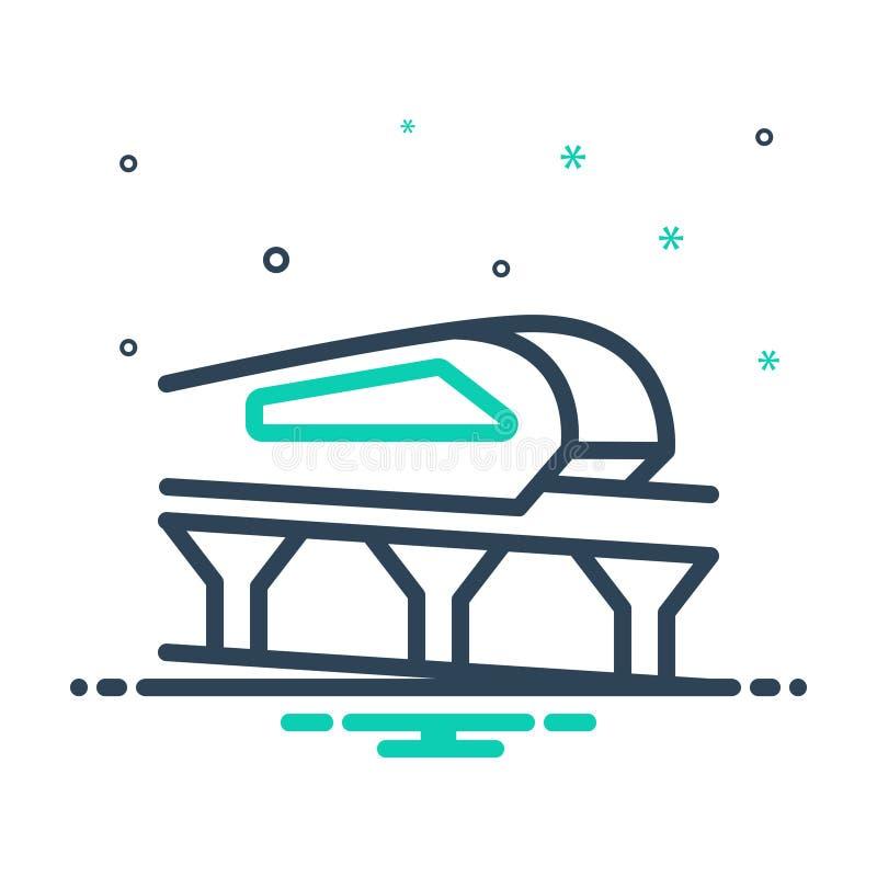 Ícone de mistura preta para Monorail, Carro e Viagem ilustração do vetor