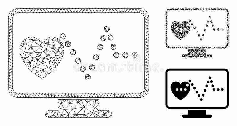 Ícone de mosaico do modelo da carcaça do vetor de monitoramento de cardio e do triângulo ilustração do vetor