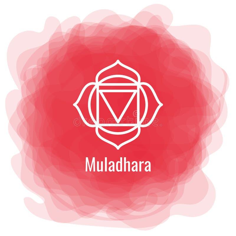 Ícone de Muladhara O primeiro chakra da raiz Círculo fumarento vermelho do vetor Linha símbolo Sinal sacral meditation ilustração royalty free