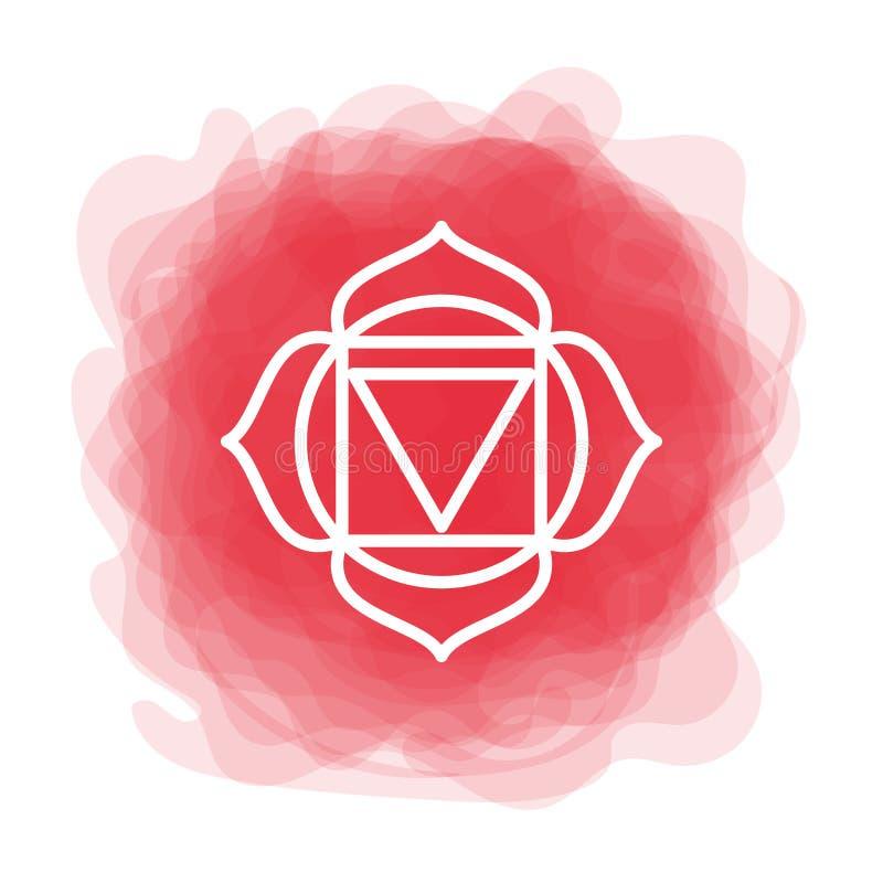 Ícone de Muladhara O primeiro chakra da raiz Círculo fumarento vermelho do vetor Linha símbolo Sinal sacral meditation ilustração stock