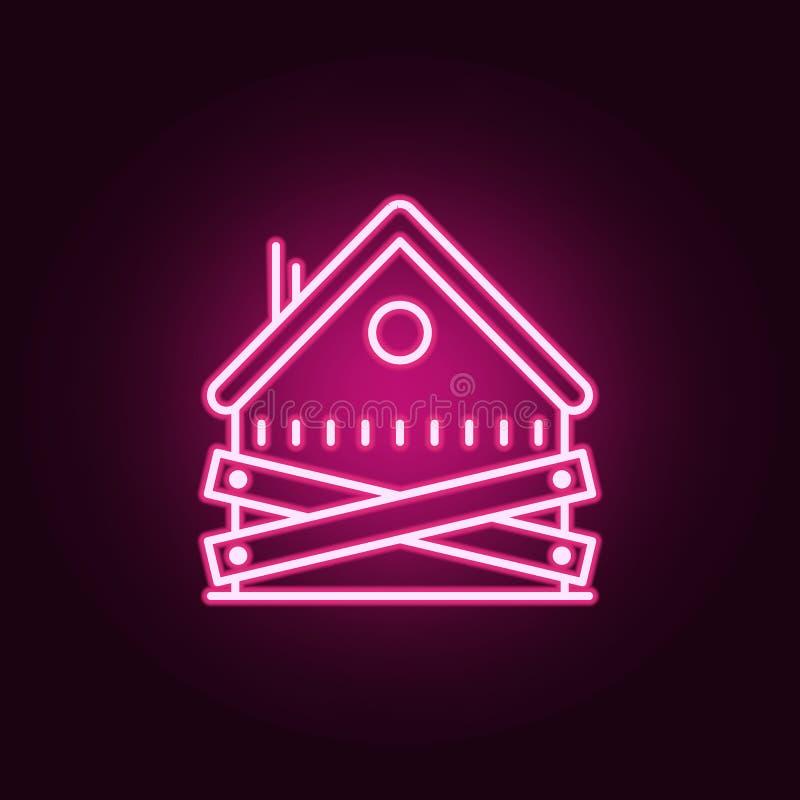 ícone de néon abandonado da casa Elementos do grupo da operação bancária Ícone simples para Web site, design web, app móvel, gráf ilustração royalty free