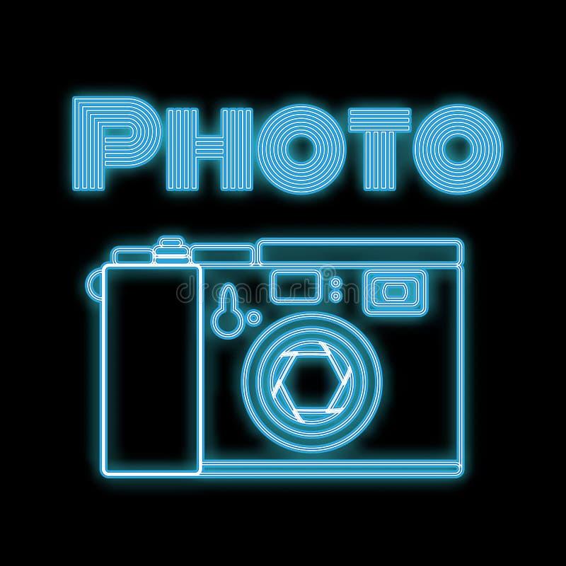Ícone de néon abstrato de incandescência brilhante azul bonito, quadro indicador de uma câmera retro velha do vintage com um espa ilustração royalty free