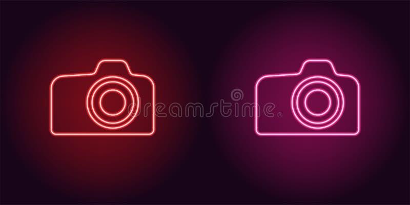 Ícone de néon da câmera vermelha e cor-de-rosa da foto ilustração do vetor