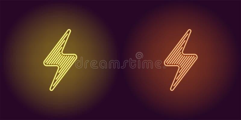 Ícone de néon da energia elétrica amarela e alaranjada ilustração royalty free