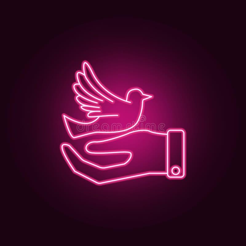 Ícone de néon da mão e da pomba r ?cone simples para Web site, design web, app m?vel, gr?ficos da informa??o ilustração do vetor